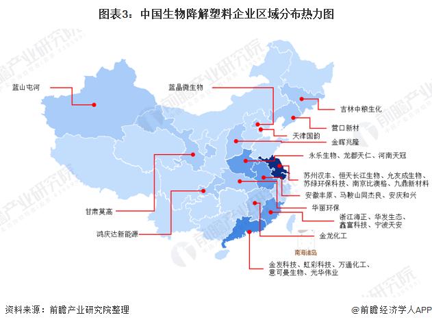 圖表3:中國生物降解塑料企業區域分布熱力圖