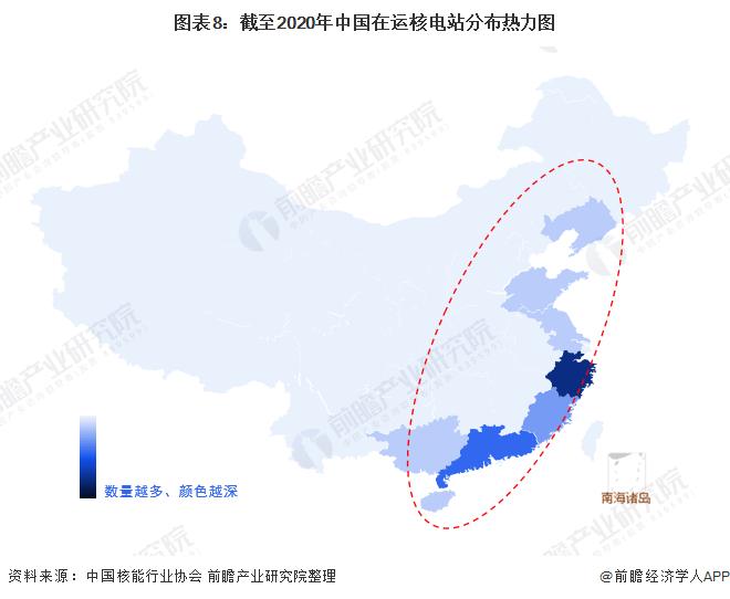 图表8:截至2020年中国在运核电站分布热力图