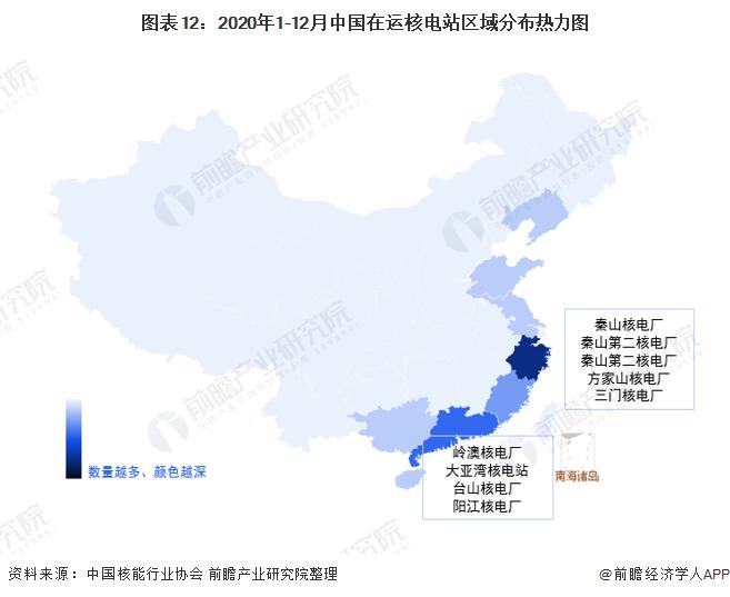 图表12:2020年1-12月中国在运核电站区域分布热力图