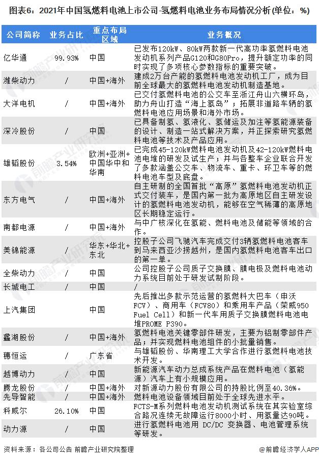 图表6:2021年中国氢燃料电池上市公司-氢燃料电池业务布局情况分析(单位:%)