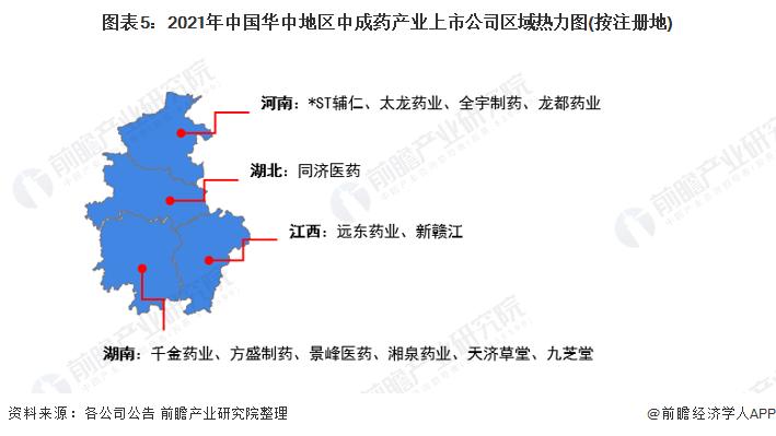 圖表5:2021年中國華中地區中成藥產業上市公司區域熱力圖(按注冊地)