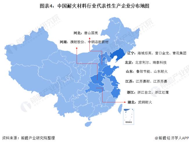 图表4:中国耐火材料行业代表性生产企业分布地图