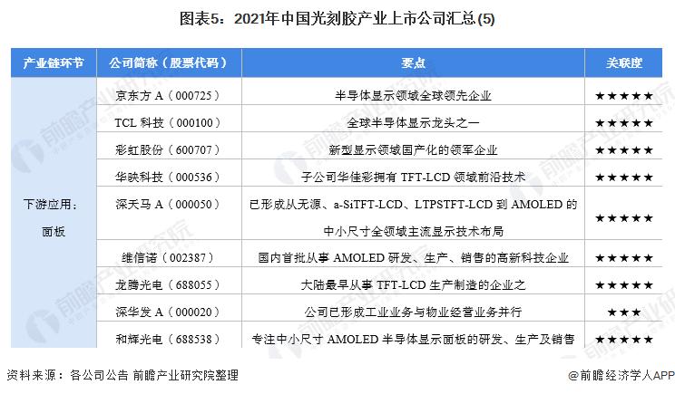 图表5:2021年中国光刻胶产业上市公司汇总(5)