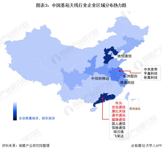 图表3:中国基站天线行业企业区域分布热力图