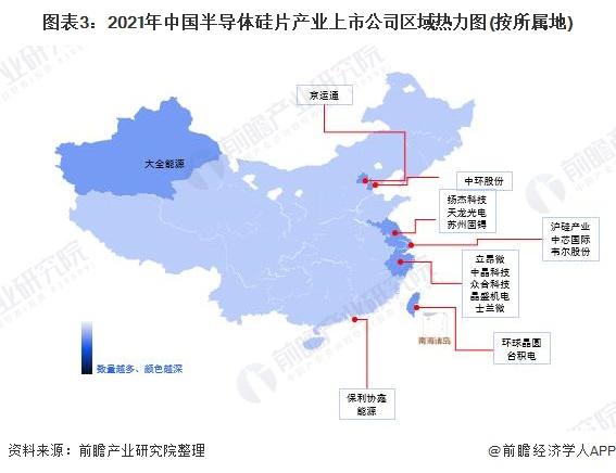 图表3:2021年中国半导体硅片产业上市公司区域热力图(按所属地)