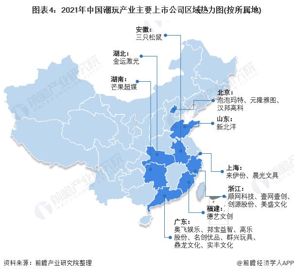 图表4:2021年中国潮玩产业主要上市公司区域热力图(按所属地)