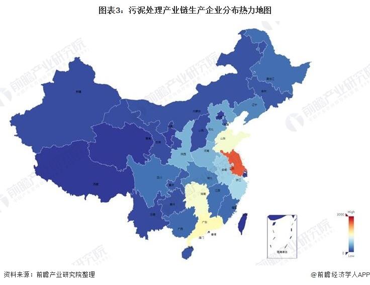 图表3:污泥处理产业链生产企业分布热力地图