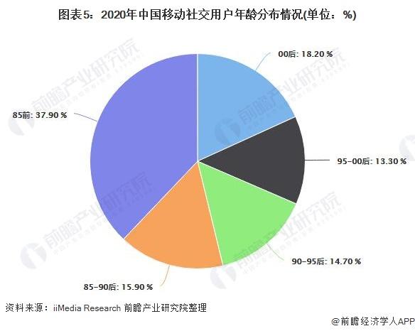 图表5:2020年中国移动社交用户年龄分布情况(单位:%)