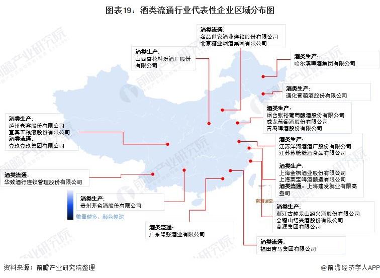 图表19:酒类流通行业代表性企业区域分布图